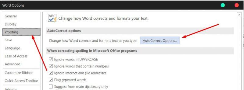 AutoCorrect Options-word